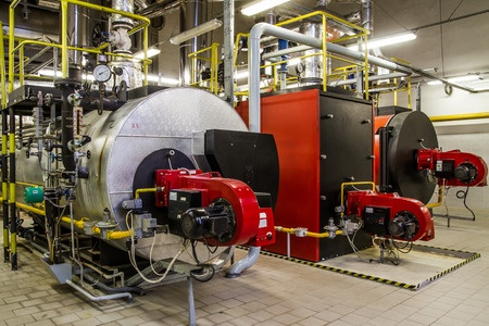 Gas boilers in an industrial building - MV Mechanical Inc.