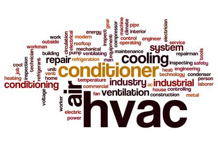 Word cloud concept art for HVAC system - MV Mechanical inc.