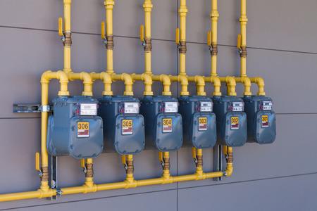 Row of installed gas meters - MV Mechanical Inc.