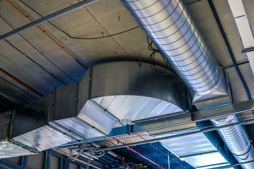 Overhead ductwork in a commercial building - MV Mechanical Inc.